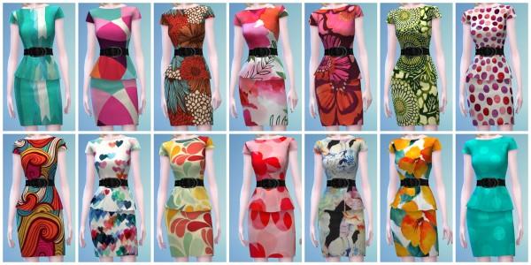 The simsperience: 14 Short Peplum Dress Recolors