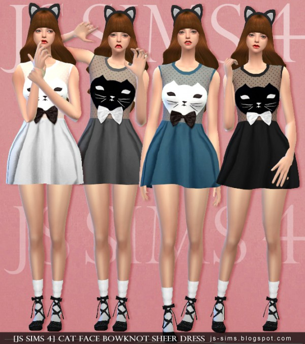 Sims 4 Cc S The Best Windows By Tingelingelater: JS Sims 4: Cat Face Bowknot Sheer Dress • Sims 4 Downloads