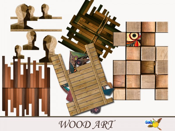 The Sims Resource: Wood Art set by evi