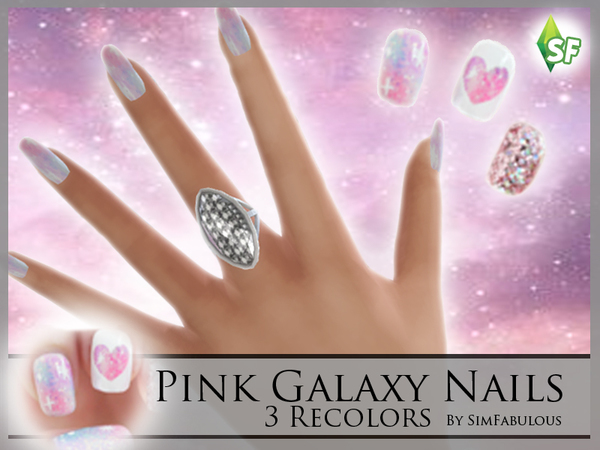 The Sims Resource: Pink Galaxy Nails by SimFabulous