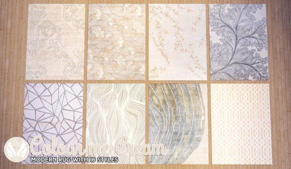 Simsational Designs Colour Me Cream Modern Rugs Sims 4