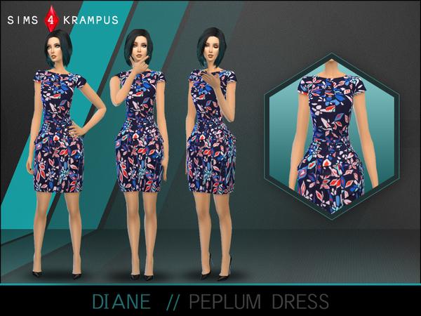 The Sims Resource: Diane Peplum Dress by SIms4Krampus