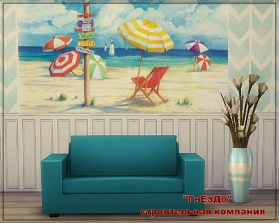 Sims 3 by Mulena: BEACH SIGNS UMBRELLAS paintings