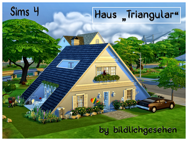 Akisima sims blog triangular house sims 4 downloads House plans for triangular lots