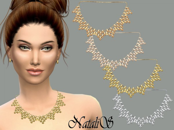 The Sims Resource: Beads cascade drop necklace by NataliS
