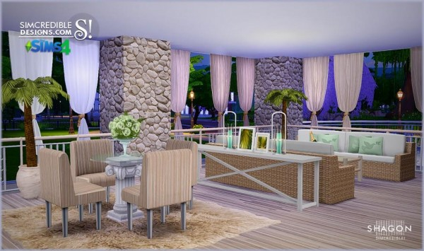 Simcredible designs shagon livingroom sims 4 downloads for Sims 3 dining room ideas