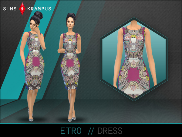 The Sims Resource: Etro Dress by SIms4Krampus