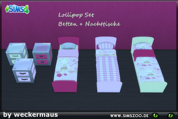 Blackys Sims 4 Zoo: Bed and bedside table
