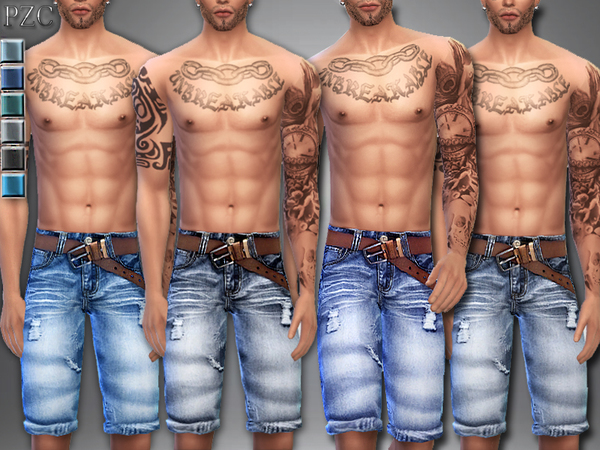 The Sims Resource: Jeans Shorts No.3 by Pinkzombiecupcake