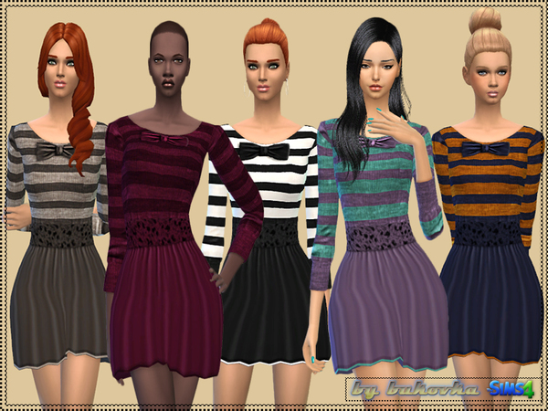 The Sims Resource: Dress Bow and Stripes by Bukovka