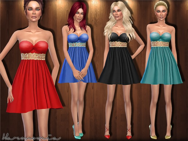 The Sims Resource: Metal   Waistband Cocktail Dress by Harmonia