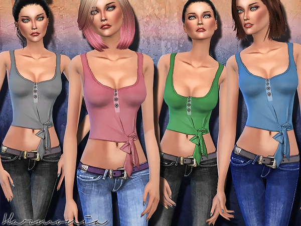The Sims Resource: Cropped Knot front Tank Top by Harmonia