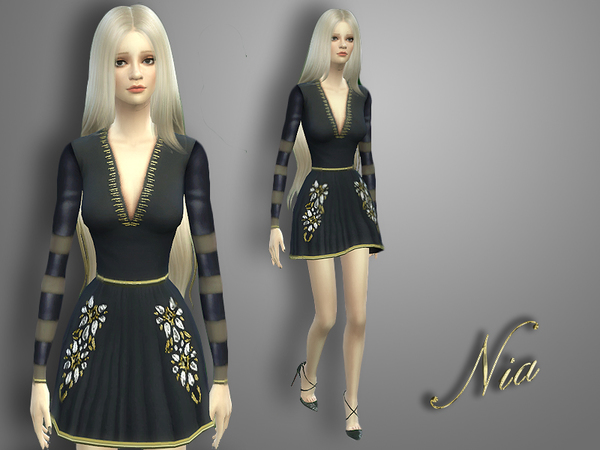 The Sims Resource: Shiny Striped Dress by Nia