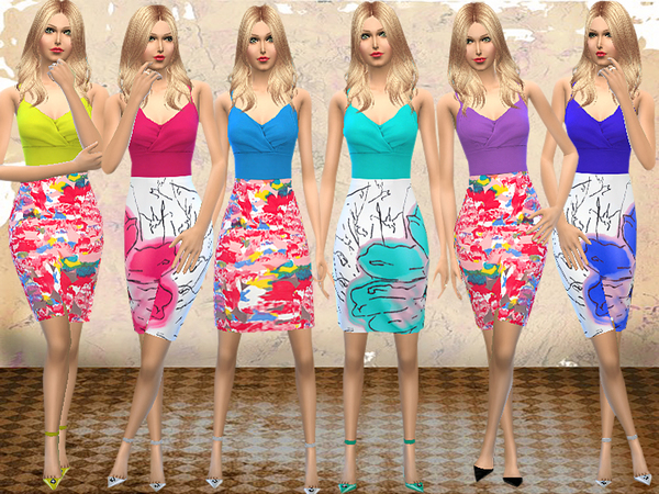 The Sims Resource: Floral Color Block Dress by melisa inci