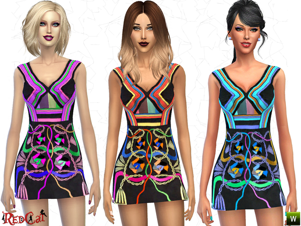 The Sims Resource: Hendrix Embellished Dress by RedCat
