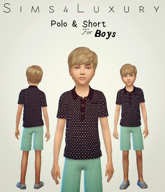 Sims4Luxury: Boys Polo & Shorts
