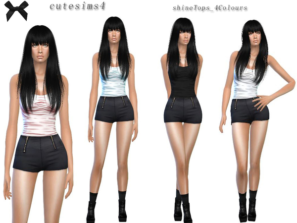 The Sims Resource: Shine Top Set by Sweetsims4