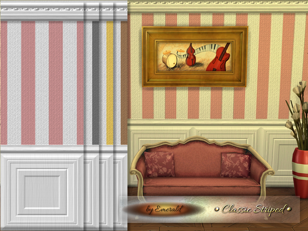 The Sims Resource: Classic Striped walls by Emerald