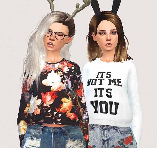 Pure Sims: Cropped sweatshirts