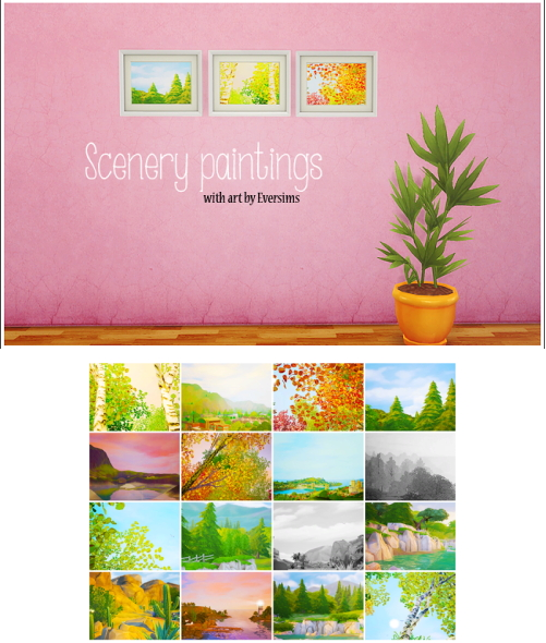 Sims 4 Cc S The Best Windows And Door Decor By Maximss: LinaCherie: Scenery Paintings • Sims 4 Downloads