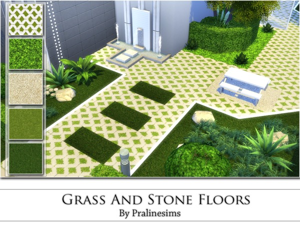 The Sims Resource: Grass And Stone Floors by PralineSims
