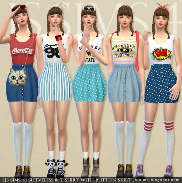 Js Sims 4 Sleeveless T Shirt With Button Skirt Sims 4 Downloads