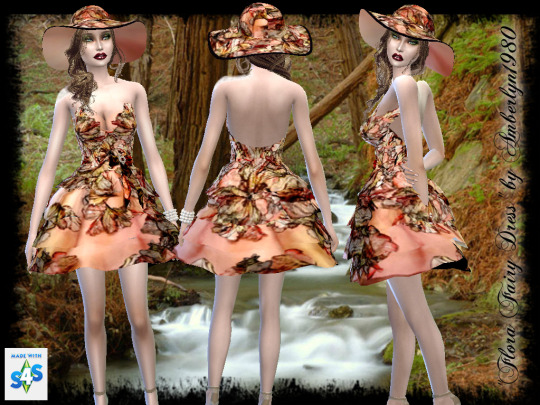 Amberlyn Designs Sims: Flora Fairy Collection  dress and hat