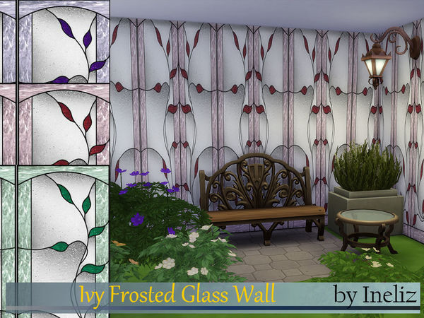 The Sims Resource: Ivy Frosted Glass Wall by Ineliz
