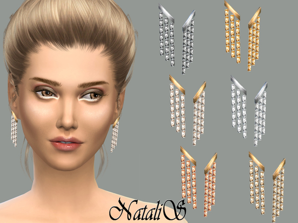The Sims Resource: Triple strand earrings by NataliS