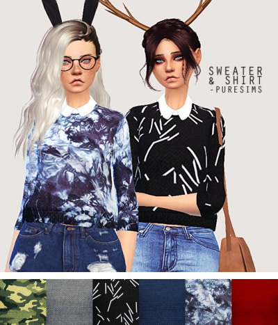 Pure Sim: Sweater and shirt