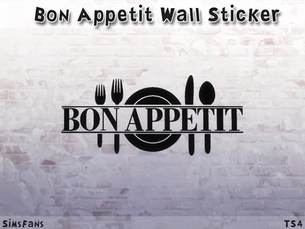 Sims Fans: Bon Appetit Wall Sticker by Melinda