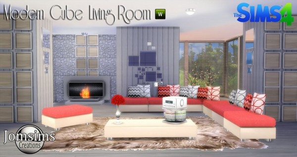 Jom Sims Creations: Modern Cube Livingroom