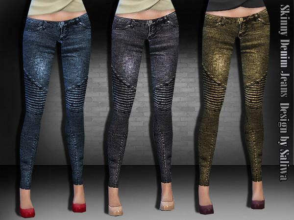 The Sims Resource: Skinny Denim Jeans by Saliwa