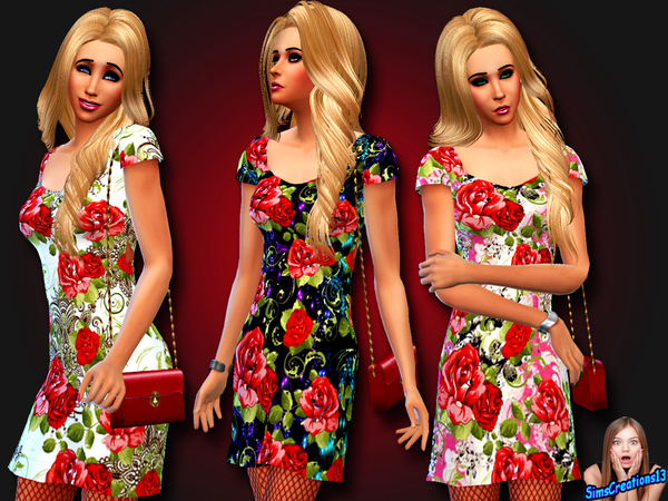 The Sims Resource: Red Roses Dress by SimsCreations13