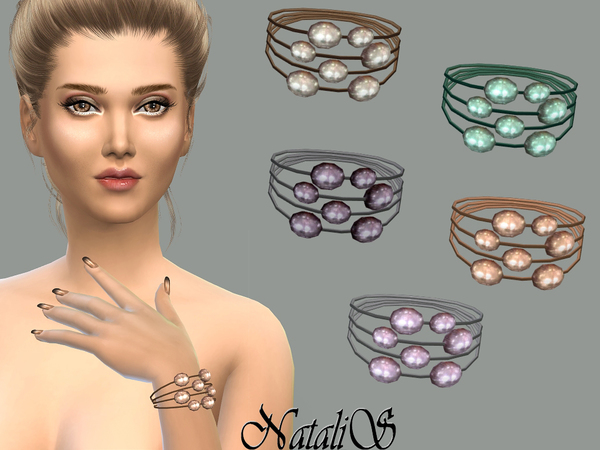 The Sims Resource: Multilayer freshwater pearl bracelet by NataliS