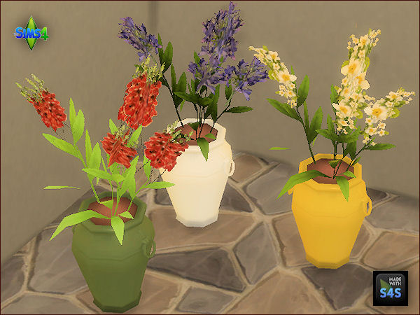 Arte Della Vita: 3 flower sets with different flowers and colored pots