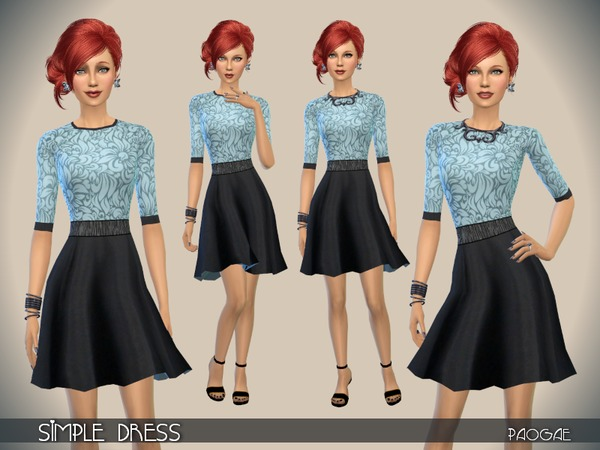 The Sims Resource: Simple Dress by Paogae