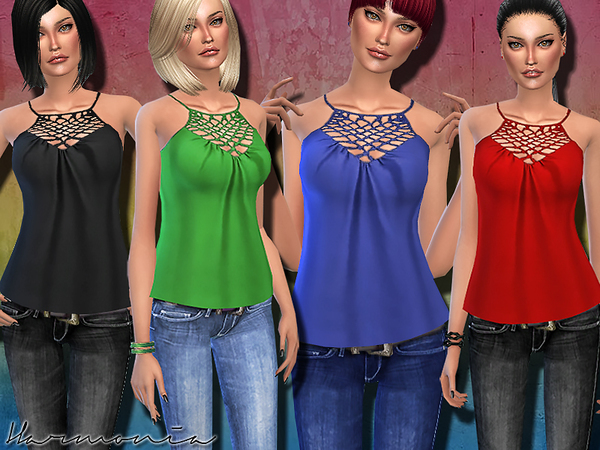 The Sims Resource: Cami with Cage Detail Halter Neck by Harmonia
