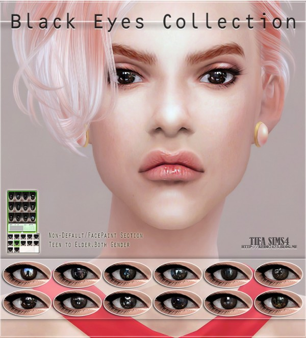 Tifa Sims Black Eyes Collection Sims 4 Downloads