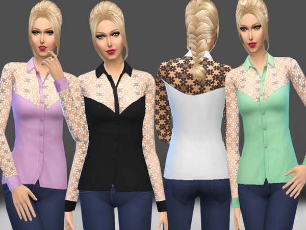 The Sims Resource: Lace Detail Blouse by melisa inci