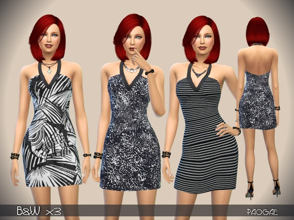 The Sims Resource: B&W x3 dresses by Paogae