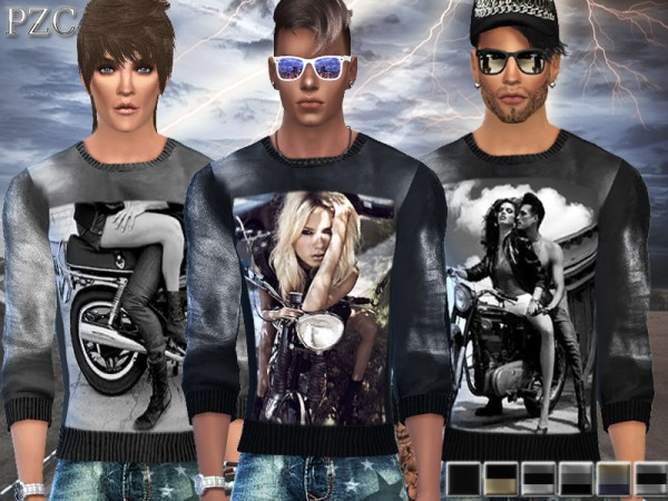 The Sims Resource: Motorcycle Lovers Sweatshirts and Jeans Shorts  by Pinkzombiecupcake