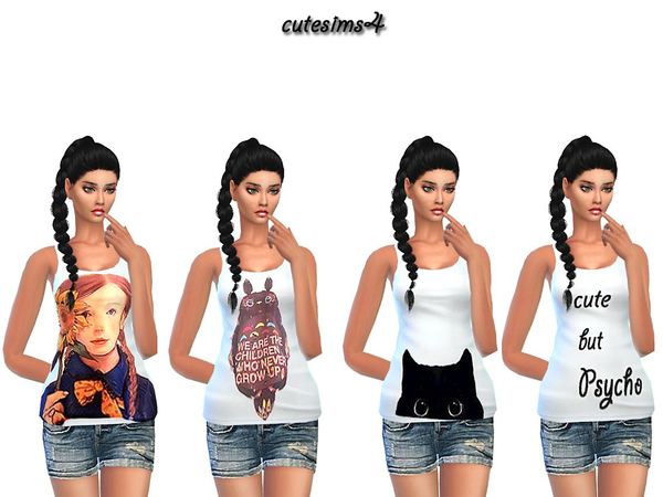 The Sims Resource: Comic white Tank Top Set