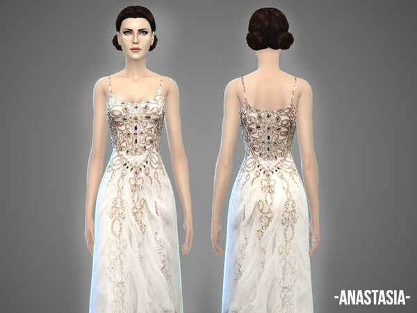 The Sims Resource: Anastasia   wedding gown by April