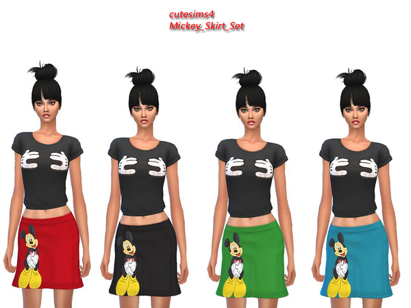 The Sims Resource: Mickey skirt set by Sweetsims4