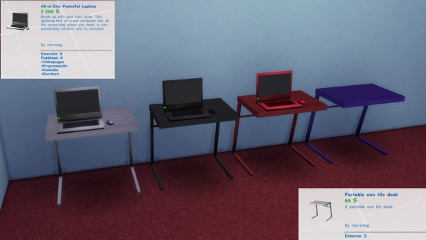 Mod The Sims: Portable kit laptop, desk and chair modern by necrodog