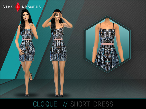 The Sims Resource: Cloque Short Dress by SIms4Krampus