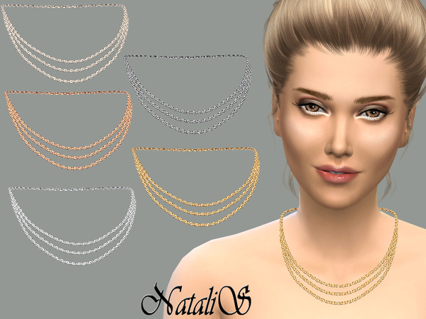 The Sims Resource: Triple strand necklace by NataliS