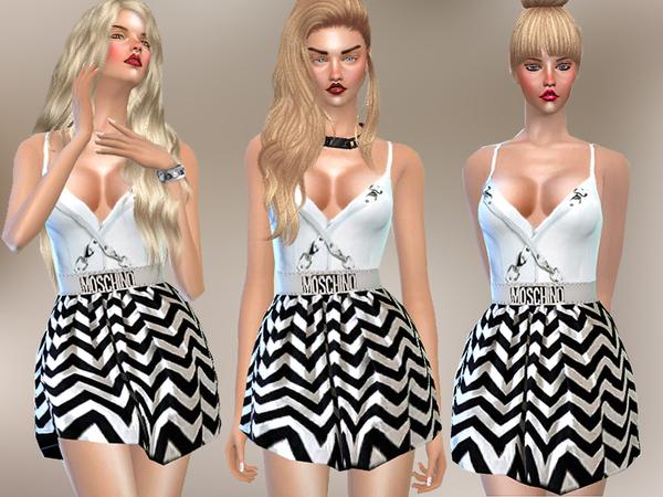 The Sims Resource: Vestido Moschino Chevron por Pinkzombiecupcake