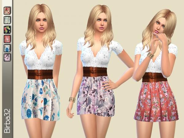 The Sims Resource: Romantic flowers dress by Birba32